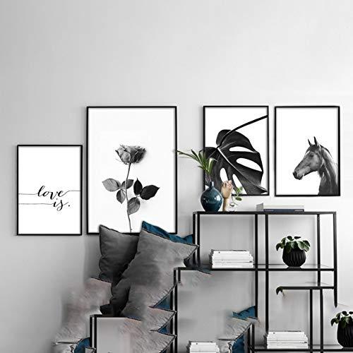 bdrsjdsb Liebe Rose Leaf Pferd Leinwand Malerei Bild Art Home Moderne Urlaub Dekoration Poster 4# 30 * 40 cm