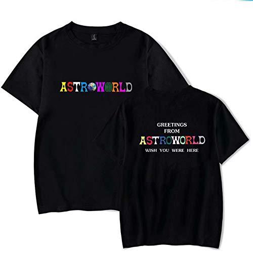 ASTROWORLD Travis Scott Album Merch Camiseta Hombre Casual Manga Corta Moda Verano Camiseta Hip Hop Letra Desearía Estar AQUÍ Imprimir Algodón Suelto de Cuello Redondo Camiseta