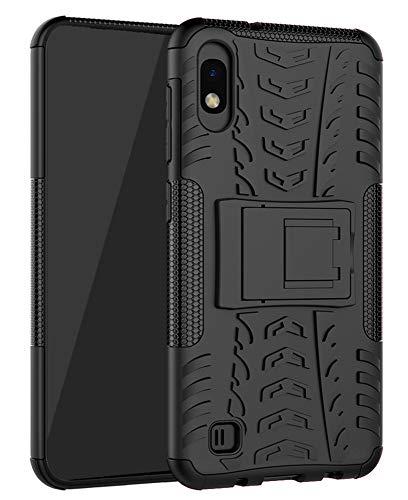 Yiakeng Samsung Galaxy A10 Cover, Doppio Strato Silicone Antiurto Far Cadere Protezione con Kickstand Custodia per Samsung Galaxy A10 (Nero)