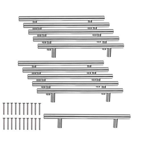 JZK 10 x Edelstahl Handgriffe Möbelgriff Stangengriffe Bohrlochabstand 128mm Relinggriffe für Schrank Schublade Kleiderschrank Schranktür