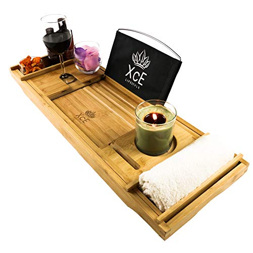 XcE Bathtub Caddy Tray with Removeable Fabric Book Stand - Bamboo Wood Bath...