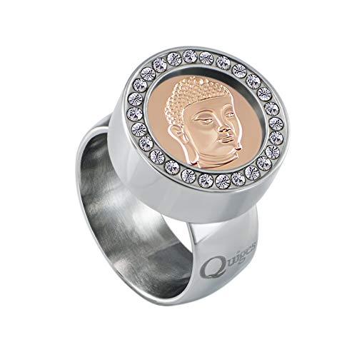 Quiges Silber Edelstahl Ring mit Zirkonia 12mm Mini Coin Halter Wechselring und Austauschbar Roségold Buddha Kopf Coin in Größe 19mm