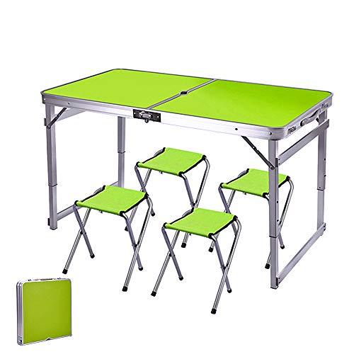 ARG Mesa y sillas plegables para exteriores, ajustable, con agujero para sombrilla, para camping, pi