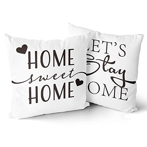 WINTERSUNNY 2pcs Home Sweet Home Pillow Cover Lets Stay Home Pillow Cases Sweet Quote Pillow Covers for Couples and Girlfriend Boyfriend for Cushion Home Decor Standard Size 18x18 Inch