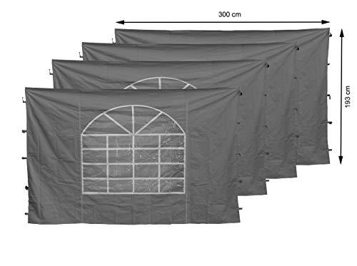 QUICK STAR 4 Seitenteile mit PVC Fenster 300x195cm für Pavillon Sahara 3x3m Seitenwand Grau