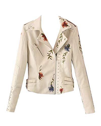 GuoCu Damen PU Lederjacke Kunstlederjacke mit Stickerei Floral Bikerjacke Kurzjacke Übergangsjacke Outwear Mäntel Beige XXL