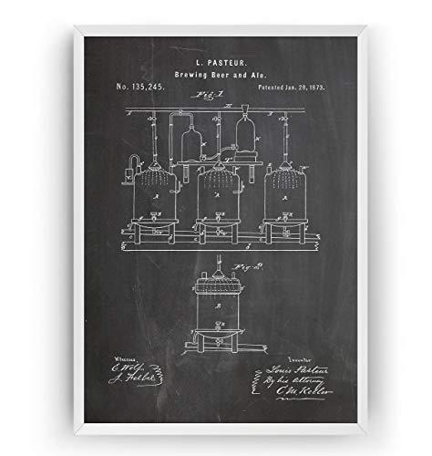 Bier brauen 1873 Patent Poster - Brauen Bier und Ale Beer Brewing Wall Brewery Brauerei Trinken Bar Herstellung Kneipe Zeichnungen Print Art Kunst Wissenschaft - Rahmen nicht enthalten