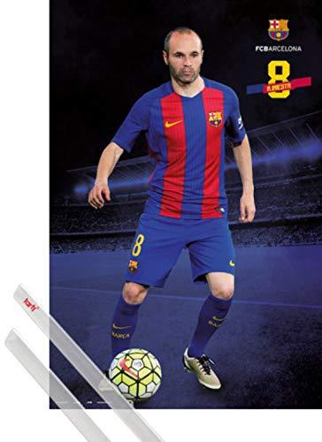 1art1 Fútbol Póster (91x61 cm) FC Barcelona 2016/2017 A. Iniesta Pose Y...