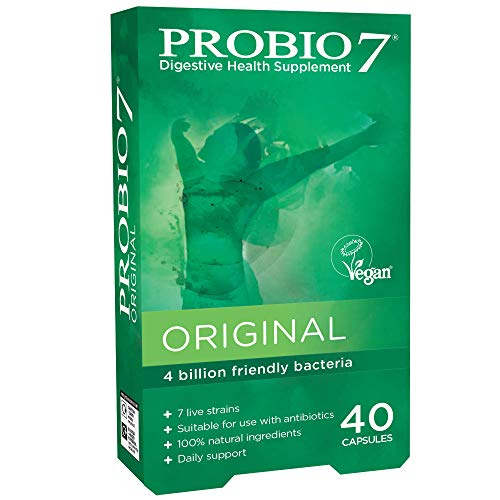 Probio7 Original | Vegan Approved | 7 Live Strains | 4 Billion CFU + 2 Types of Prebiotic Fibre | Digestive Health Supplement (40 Capsules)