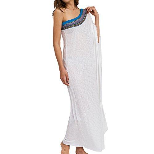 Pitusa Pima One Shoulder Dress Cover Up - White