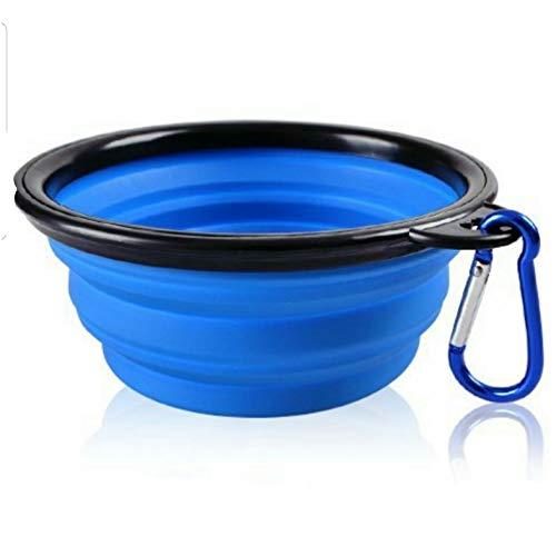 Mr. Peanut\'s Ciotola pieghevole in silicone con moschettone colorato, lavabile in lavastoviglie, senza BPA, per uso alimentare, portatile, pieghevole per viaggi, escursioni, cucce e campeggio