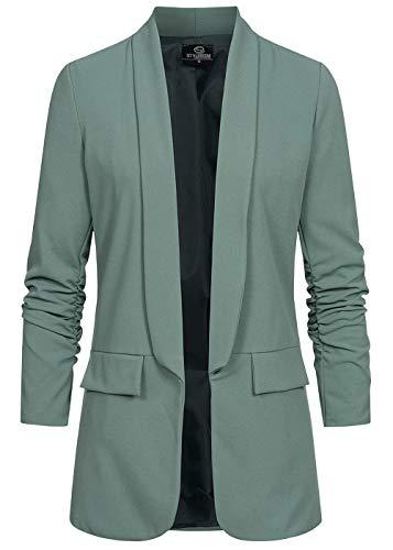 Styleboom Fashion® Damen 3/4 Arm Longform Blazer 2 Deko Taschen Chinois grün