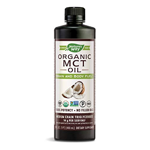 Natures Way Organic MCT Oil From Coconut, Non-GMO, Gluten-free, 14 g MCTs per serving, 16 FL Ounce