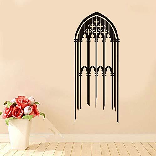 Gothic Fenster Wandaufkleber Vinyl Abnehmbare Kerzen Dekorative Skizze Wandtattoo Zubehör Muursticker Für Wohnzimmer Room42 * 100