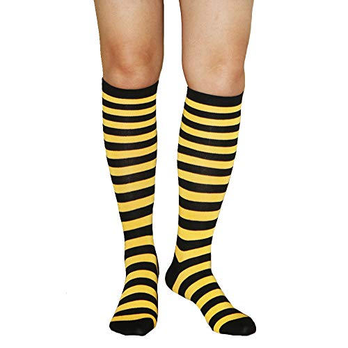 Womens Funny Colorful Striped Knee High Girls Fun Cute Rainbow Soccer Costume Novelty Tube Socks,Yellow Black