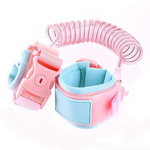 Muñequera antipérdida infantil 1.5~2.5M Restricción del andador para bebés Cinturón de seguridad Cuerda de tracción Pulsera antipérdida para bebés Cabeza giratoria de 360 ° Cuerda(blue-pink2.5M)