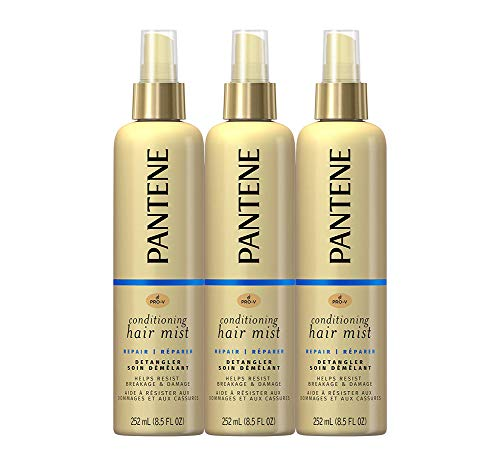 Pantene Conditioning Mist Detangler, Nutrient Boost, Pro-V Repair and Protect for Damaged Hair, 8.5 oz, 3 count Detangling Light Conditioning Mist