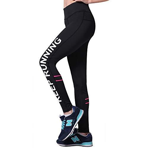 tiffan1990 Leggings De Entrenamiento De Cintura Alta para Mujer Pantalones De Yoga para Fitness Gimnasio Running Pantalones De Polainas Transpirables De Secado Rápido Y Transpirable M Negro
