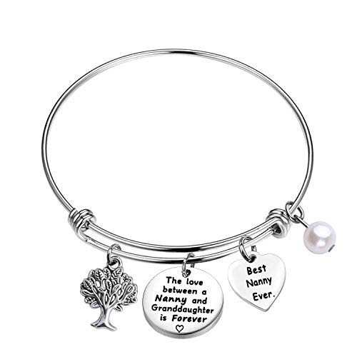 Nanny Bracelet Nanny Gifts from Granddaughter Nanny Jewelry The love between a Nanny and Granddaughter is Forever (silver)