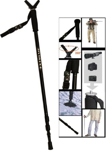 Extreme Deluxe Hunting Shooting Gun Pod Height Adjustable Collapsible & Shock Absorbing Stick Monopod Telescopic Kit With Integrated Camera Mount (29