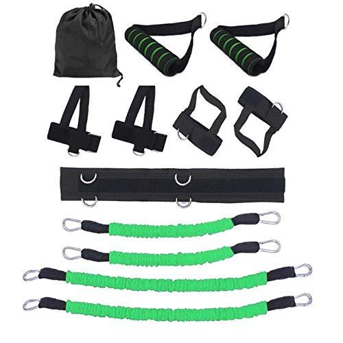 OKM Set di Cinturini Elastici per Cinturini Elastici per la Vita delle Gambe Attrezzi perAllenamento Cherimbalza in Palestra, Verde