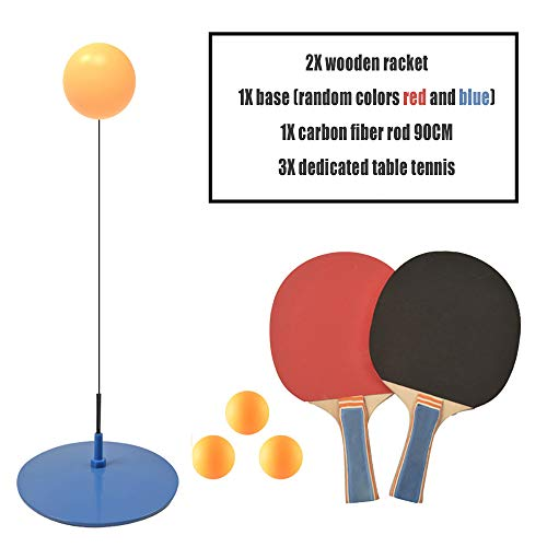 Best Bargain WENCY Table Tennis Training Device with Elastic Soft Shaft and 3 Balls and 2 Rackets fo...