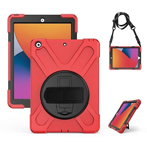 Gerutek Custodia per iPad 10.2 (2020/2019 Versione), Cover iPad 8/7 Generazione in Silicone Resistente agli Urti con Supporto Rotante e Tracolla Protettiva Custodia per iPad 8/7 Generazione, Rosso
