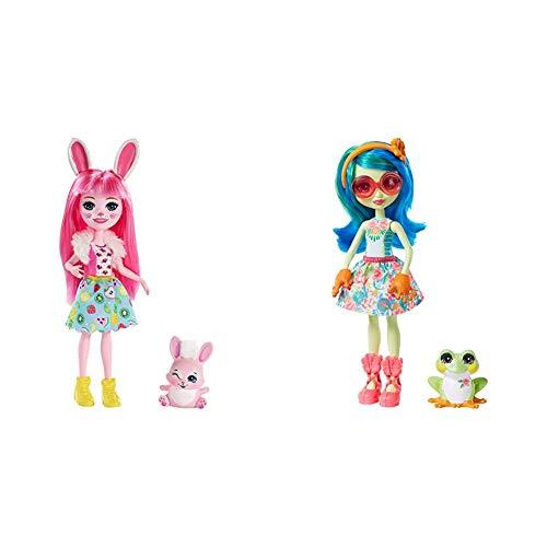 Enchantimals Bree Bunny y Twist, muñeca con Mascota (Matty FXM73) + Muñeca Tamika Tree Frog con Mascota Burst (Mattel GFN43)