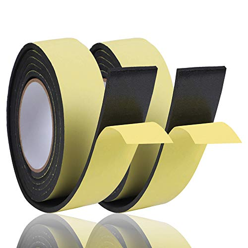 KURASHI 高密度クッション隙間テープ 2本セット 防水 パッキンテープ 防風 防音 雨戸 サッシ 幅50mm 厚み3mm(5m)