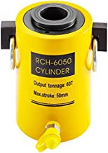 Mophorn 60T 2 Inch Hydraulic Cylinder Jack Hollow Single Acting Hydraulic Ram Cylinder 50mm Hydraulic Lifting Cylinders for Riggers Fabricators (60T 2 Inch Hollow)