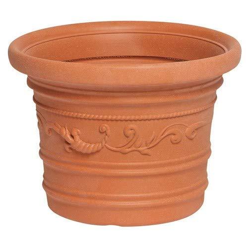 Saturnia 8093400 Pot de Fleurs en résine Rond, Couleur Terre Cuite, résistant, idéal pour extérieur, diamètre 35 cm