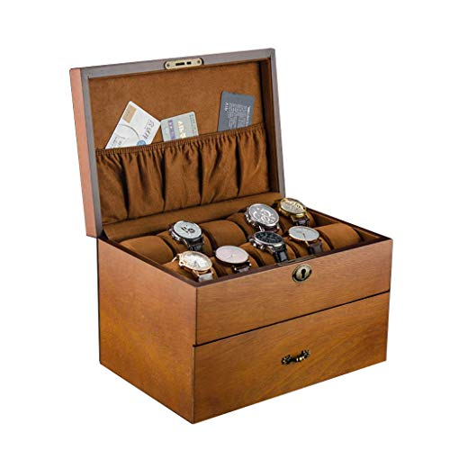 Watch Display Rage Box Double-Layer Watch Rage Box Wooden Drawer 20 Slots Lockable Male/Female Watch welry SZWHO (Color : 2)