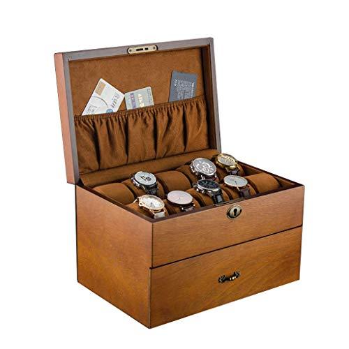 Exhibición del Reloj Rabia Caja de Doble Capa Reloj Rabia Caja del cajón de Madera con Cerradura 20 Ranuras Hombre/Mujer Reloj welry JIAJIAFUDR (Color : 2)