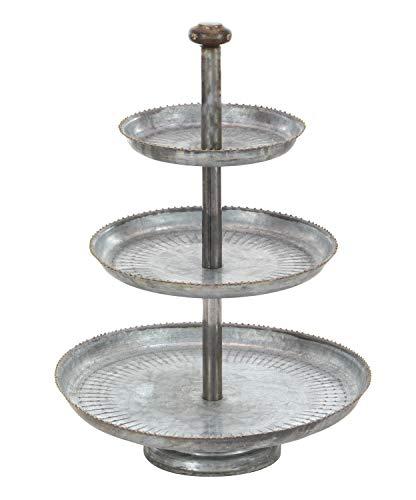 Deco 79 Farmhouse 3-Tiered Round Metal Tray Stand, 22' H x 16' L, Galvanized Gray Finish