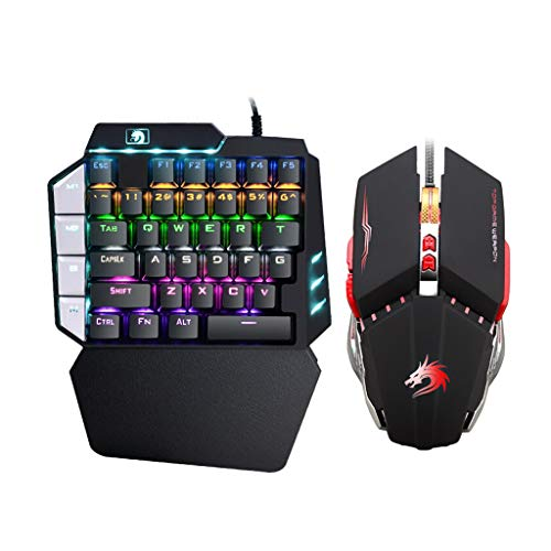 H&R Esports Mechanisches Tastatur-Set, kabelgebundenes Notebook + Programmiermaus, Handy Bluetooth-Peripheriegeräte, Tastatur, Spieltastatur, Regenbogenfarben (Farbe: Programmier-Maus)