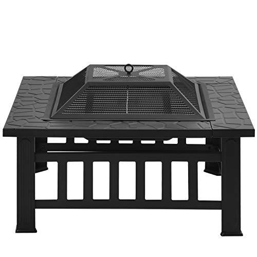 TETHYSUN Feuerstelle mit Grillrost, Multifunktional Feuerkorb 3in1 Multifunktional Fire Pit für BBQ Grill, Garten Terrasse, 81 x 81 x 50 cm