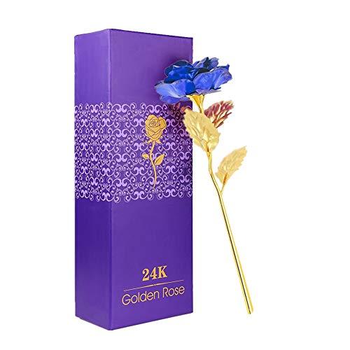 WeFoonLo Artificial Flor de Rosa de Oro de 24 Quilates. Rosa de plástico bañada en plástico con Caja de Regalo para el Día de la Madre, Día de San Valentín, Cumpleaños, Día de Acción de Gracias(Azul)