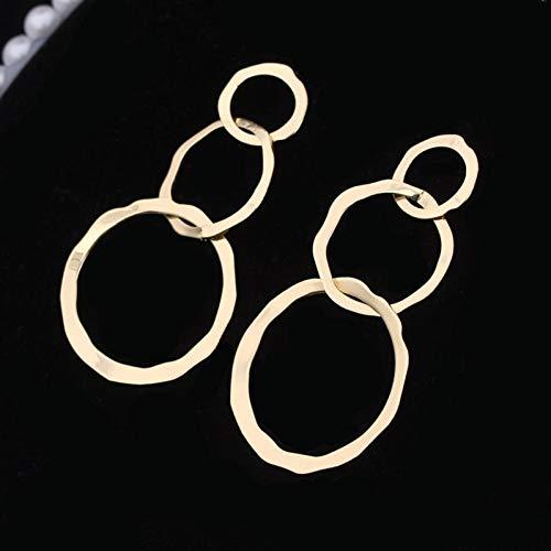 FGFDHJ Pendientes Colgantes Redondos para Mujer Hipérbole Geométrico Hueco 3 Cirlcles Pendientes Largos y Simples Regalo de Boda