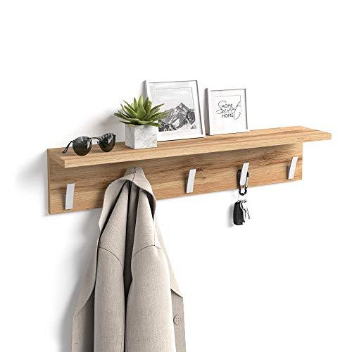 Mobili Fiver, Appendiabiti da Parete, Rachele, da 80 cm, Rovere Rustico, Nobilitato/Alluminio, Made...