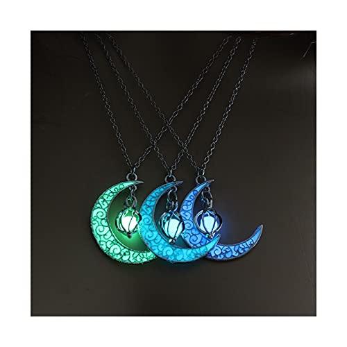 GDYJP Colgante Collar de Regalos Brillante Luna Collar de la Gema del Encanto de joyería de Plata Plateado Mujeres de Halloween Colgante Hueco Luminoso Piedra (Color : A)