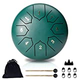 Steel Tongue Drum, Hantop 6-Inches 8-Notes Drum Set, Lotus Ethereal Drum, Percussion Instrument Handpan Drum with Travel Bag, Drumsticks and Music Book for Meditation Entertainment Concert Yoga Gift