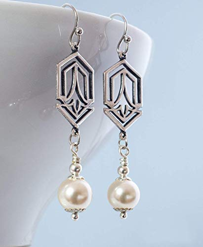 Art Deco Earrings with Cream Rose Crystal Element Pearls