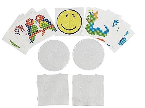 EAST-WEST Trading GmbH 4 Stück, Bügelperlen Stiftplatten, Steckplatten + 12 farbige Vorlagen, 2 x rund und 2 x eckig, Einzelgröße 14,5 x 14,5 cm und 15,0 cm Durchmesser