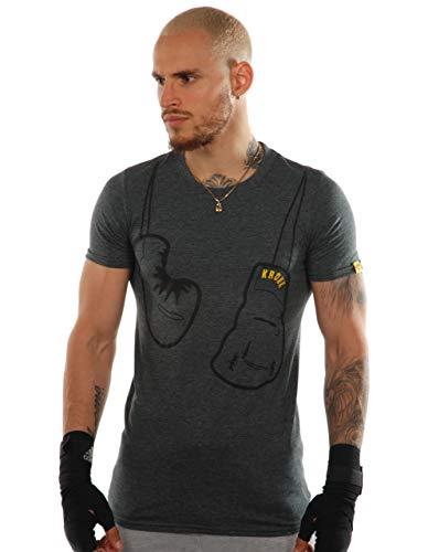 KRONK Gants à Suspendre T-Shirt Homme Coupe Slim Gris Grand