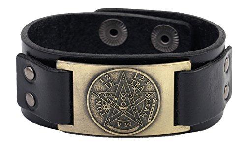 Wicca-Lederarmband mit Pentagramm, Tetragrammaton, Pagan-Armreifen für Herren und Damen