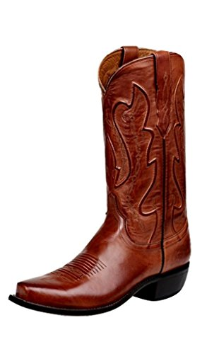 Lucchese Mens Cole Ranch Hand Calfskin Snip Toe Boots Mid Calf - Brown - Size 10 D