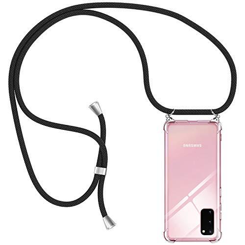 AODOOR Handykette Kompatibel mit Samsung Galaxy S20, Samsung S20 Hülle Kette Handyhülle Umhängen mit Band Silikon Bumper Hülle, Handyhüllen mit Kordel Necklace Schnur Handyband für Galaxy S20