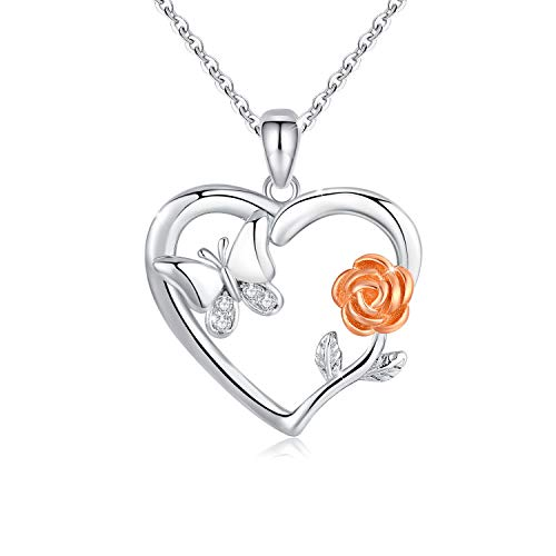 Yumilok Jewelry 925 Sterling Silver Rose Gold Plated Cubic Zirconia Lovely Dolphin Heart Pendant Necklace for Women//Girls