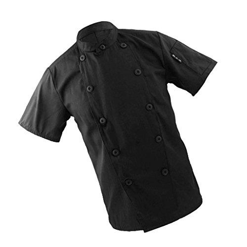 Ropa de Trabajo Chef Unisex Chaqueta de Cocinero de Manga Corta Ropa Uniforme para Hombres Mujeres - Negro, 3XL