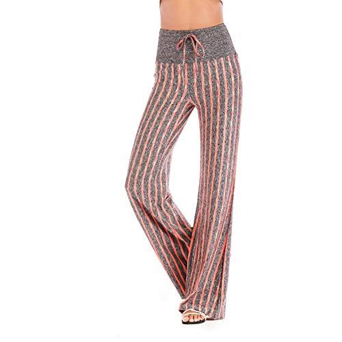 NSYJK Yoga broek Vrouwen Streep Print Yoga Broek Losse Brede Been Volledige Broek Hoge Taille Hardlopen Workout Broek Flared Slim Yoga Broek Plus Size